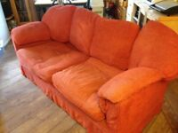 Large GPlan sofa and two armchairs, wooden frames & loose covers. Sofa 6ft 7ins wide x 3ft depth