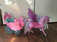 Barbie Carriage with horse, (unicorn and pegasus)