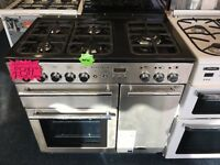 RANGEMARSTER 90CM DUAL FUEL RANGESTYLE BRAND NEW COOKER IN SHINY SILIVER