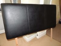 Small Double 4Ft Faux Leather Headboard - Black