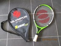 junior tennis raquet with protector cover.
