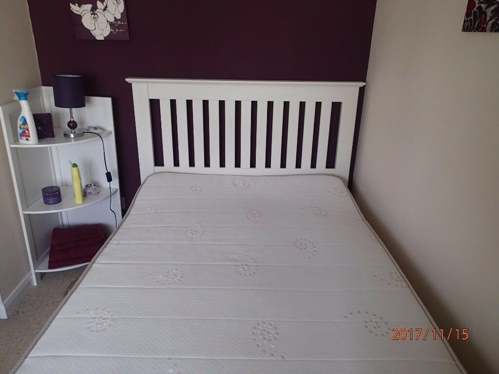4ft White Wood Double Bed With Almost New Mattress