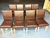 8 x brown leather chairs (item 11)