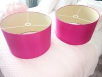 2 X habitat huge pink silk ceiling light shade lamp shade