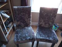 2 stunning crushed velvet grey knocker chairs