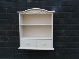 VINTAGE PINE WALL SHELF WITH 2 SMALL DRAWERS BEAUTIFUL DETAILS