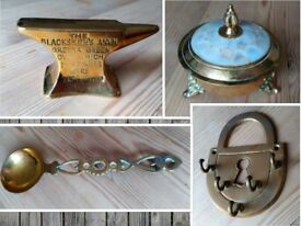 Vintage Brass Trinket, Spoon, Key Hook, Gretna Green Anvil Paperweight etc.