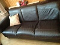 3 seater &2seather Brown Leather settee's