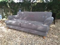DFS Grey Fabric sofa Button colour backDelivery Poss