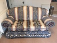Nice Condition Two Seater Blue/cream/red Sofa for Sale Cardiff