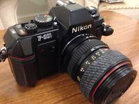 Nikon F301 camera + 4 lenses + accessories