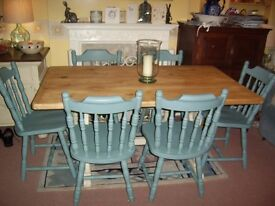 SOLID PINE TABLE & SIX CHAIRS ANNIE SLOAN OLD OCHRE & DUCK EGG BLUE