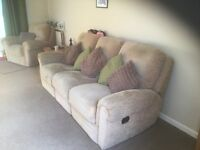 3 seater sofa (recliner) and standard chair, beige in colour.