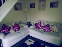 2 x 2 Seater Cream Fabric Sofas