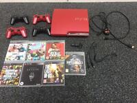 PS3 Red Slim - 5 Games - 4 Controllers - 1 Mic - All Cables