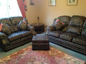 3 and 2 seater sofas with puffy