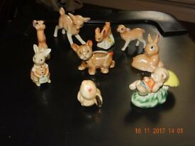 Nine animal figurines