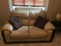 Free Matching two seater and three seater real leather sofas