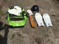 Full Child's Cricket set including Bat, Pads, Helmet, Gloves, Whites and Bag, little used & as new