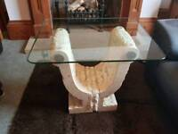 Solid Stone Lamp/Coffee Table with glass top - John Lewis