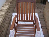 Chairs (2) Solid Wood Folding Reclining Garden Chairs £50 each (Used Twice).