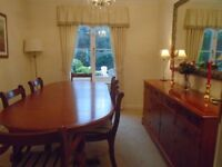 Reproduction Dining Table, Chairs and Side Cabinet