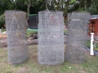3 LARGE ROLLS OF USED GALVANISED FENCING/MESH