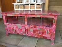 Television cabinet with shelf for freeview box, dvd player etc. and two drawers
