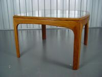 G-Plan Teak Square Glass Topped Coffee/ Occasional Table