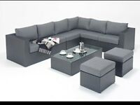 8 Seater Rattan Corner Sofa Set Home Garden Furniture Set with Back Cushions NEW