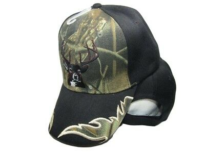 (Deer Buck Head Antlers Hunter Hunting Camo Bill Black Main Embroidered Cap Hat )