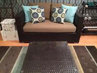 Outdoor VillaCabana loveseat and coffee table