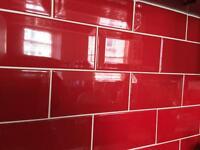 Red Glazed Ceramic Tiles (2 Boxes)