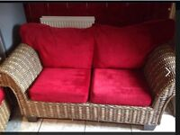 Conservatory sofa , 1 & 2 seater, red