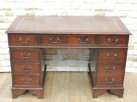 Captains desk with leather brown top (Delivery)