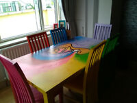 Quirky one off piece table and 6 chairs