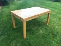 Solid Oak Chuky Dining Table, 2 x Extension Leaves & 6 Chairs