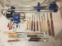 Record three speed lathe and tools