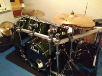 Pearl Masters Studio Emerald Green Kit plus Pearl Rack!