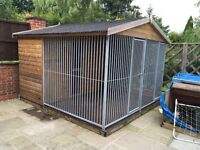 Large Wooden Dog Kennel 10x10'6 (ft) With Metal Bars GREAT FOR BIG DOGS