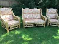 Cane Conservatory Sofa and 2 Chairs