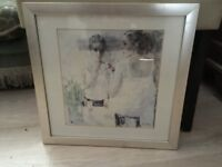 Signed framed picture of 2 Young Ladies by Barclay