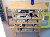 SIDE TABLE WINE RACK WITH GLASS RACK