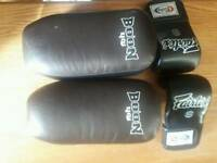 Boxing gloves and pads