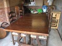 Solid wood table and 4 ladderback chairs