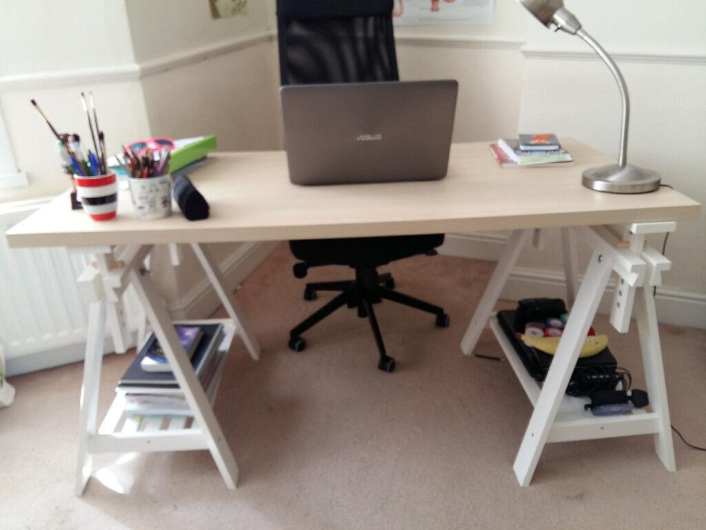 IKEA LINNMON FINNVARD adjustable office table semi new in