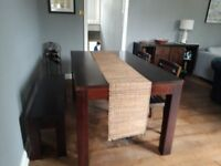 Dining set - dining table with bench and two chairs in solid teak