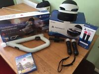 PlayStation VR boxed, PlayStation V2 camera, 2x move controllers and farpoint game and gun