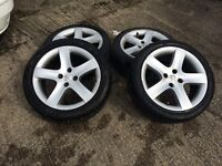 """308 ALLOYS 17"""" WITH GOOD TYRES THREE GOOD ALLOYS AND ONE A LITTLE SCUFFED"""