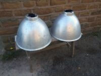 Pair of Huge Large Galvanised Metal Industrial Light Lamp Pendant Shades Vintage Retro Grey Silver
